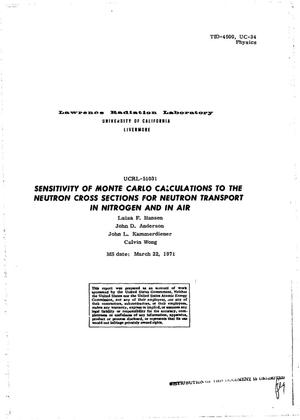 Primary view of object titled 'Sensitivity of Monte Carlo Calculations to the Neutron Cross Sections for Neutron Transport in Nitrogen and in Air.'.