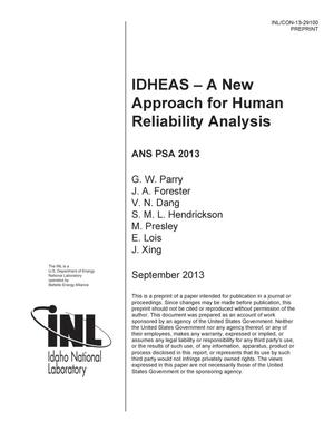 Primary view of object titled 'IDHEAS – A NEW APPROACH FOR HUMAN RELIABILITY ANALYSIS'.