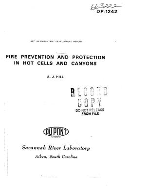 Primary view of object titled 'FIRE PREVENTION AND PROTECTION IN HOT CELLS AND CANYONS.'.