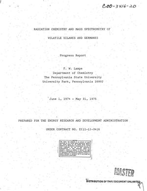 Primary view of object titled 'Radiation chemistry and mass spectrometry of volatile silanes and germanes. Progress report, June 1, 1974--May 31, 1975'.