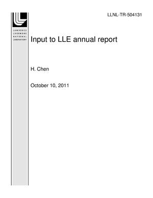 Primary view of object titled 'Input to LLE annual report'.