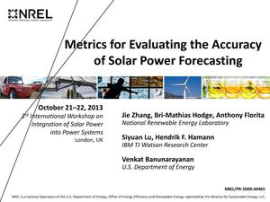 Primary view of object titled 'Metrics for Evaluating the Accuracy of Solar Power Forecasting (Presentation)'.
