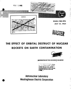 Primary view of object titled 'Effect of orbital destruct of nuclear rockets on earth contamination'.