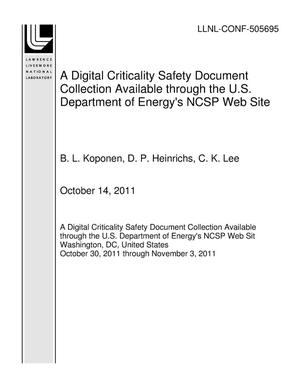 Primary view of object titled 'A Digital Criticality Safety Document Collection Available through the U.S. Department of Energy's NCSP Web Site'.