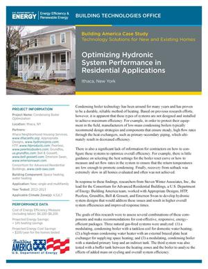 Primary view of object titled 'Optimizing Hydronic System Performance in Residential Applications, Ithaca, New York (Fact Sheet)'.