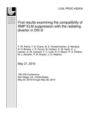 Primary view of object titled 'First results examining the compatibility of RMP ELM suppression with the radiating divertor in DIII-D'.