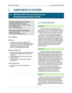 Primary view of object titled 'FY13 Annual Report: PHEV Advanced Series Gen-set Development/Demonstration Activity'.