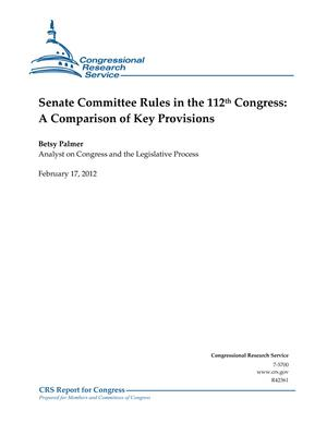 Senate Committee Rules in the 112th Congress: A Comparison of Key Provisions