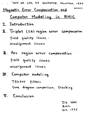 Primary view of object titled 'Magnetic Error Compensation and Computer Modeling in RHIC'.