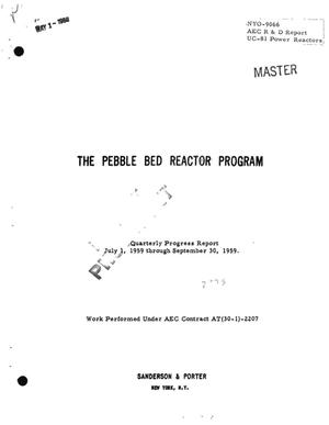 Primary view of object titled 'THE PEBBLE BED REACTOR PROGRAM. Quarterly Progress Report for July 1, 1959 Through September 30, 1959'.