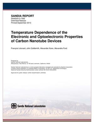 Primary view of object titled 'Temperature dependence of the electronic and optoelectronic properties of carbon nanotube devices.'.