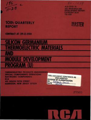 Primary view of object titled 'SILICON GERMANIUM THERMOELECTRIC MATERIALS AND MODULE DEVELOPMENT PROGRAM. 10th Quarterly Report, April 1, 1970--June 30, 1970.'.