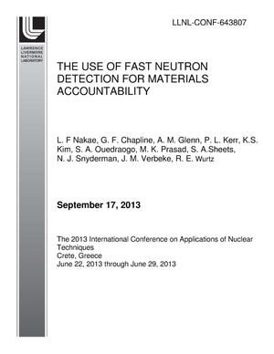 Primary view of object titled 'THE USE OF FAST NEUTRON DETECTION FOR MATERIALS ACCOUNTABILITY'.