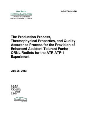 Primary view of object titled 'The Production Process, Thermophysical Properties, and Quality Assurance Process for the Provision of Enhanced Accident Tolerant Fuels: ORNL Rodlets for the ATR ATF-1 Experiment'.
