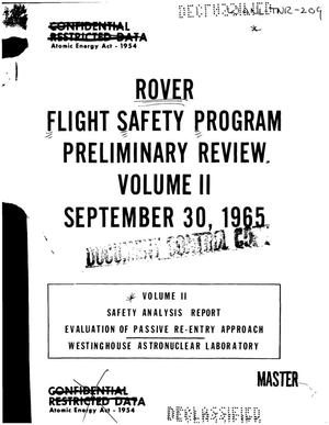 Primary view of object titled 'ROVER Flight Safety Program preliminary review. Volume II'.