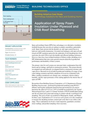 Primary view of object titled 'Application of Spray Foam Insulation Under Plywood and OSB Roof Sheathing (Fact Sheet)'.