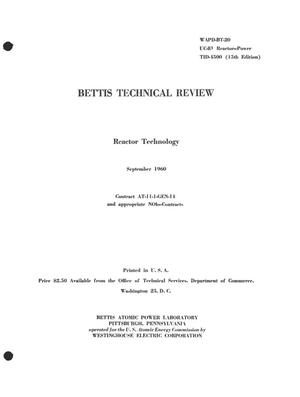 Primary view of object titled 'BETTIS TECHNICAL REVIEW. REACTOR TECHNOLOGY'.