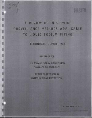 Primary view of object titled 'REVIEW OF IN-SERVICE SURVEILLANCE METHODS APPLICABLE TO LIQUID SODIUM PIPING.'.