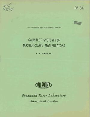 Primary view of object titled 'Gauntlet System for Master-Slave Manipulators'.