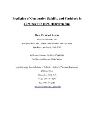 Primary view of object titled 'Prediction of Combustion Stability and Flashback in Turbines with High-Hydrogen Fuel'.