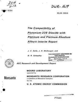 Primary view of object titled 'COMPATIBILITY OF $sup 238$Pu DIOXIDE WITH PLATINUM AND PLATINUM--RHODIUM ALLOYS: INTERIM REPORT.'.