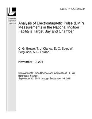 Primary view of object titled 'Analysis of Electromagnetic Pulse (EMP) Measurements in the National Ingition Facility's Target Bay and Chamber'.