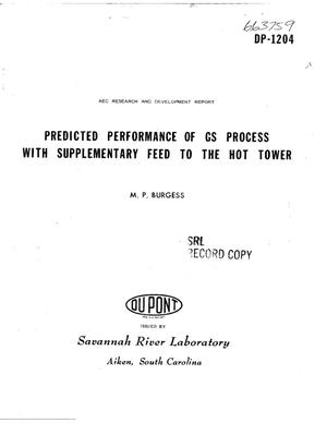 Primary view of object titled 'Predicted Performance of Gs Process With Supplementary Feed to the Hot Tower.'.