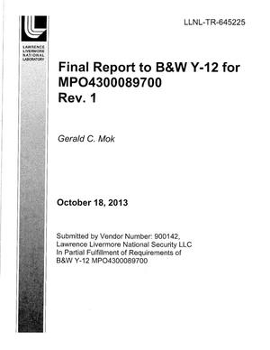 Primary view of object titled 'Final Report to B&W Y-12 for MPO4300089700, Rev. 1'.