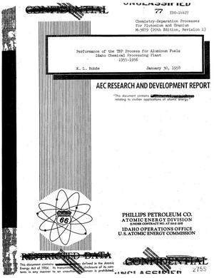 Primary view of object titled 'PERFORMANCE OF THE TBP PROCESS FOR ALUMINUM FUELS IDAHO CHEMICAL PROCESSING PLANT, 1955-1956'.