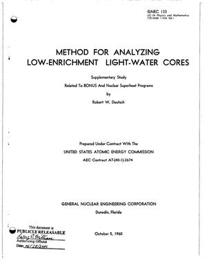 Primary view of object titled 'METHOD FOR ANALYZING LOW-ENRICHMENT LIGHT-WATER CORES. SUPPLEMENTARY STUDY RELATED TO BONUS AND NUCLEAR SUPERHEAT PROGRAMS'.