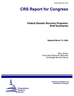 Federal Disaster Recovery Programs: Brief Summaries
