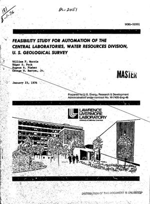 Primary view of object titled 'Feasibility study for automation of the Central Laboratories, Water Resources Division, U.S. Geological Survey'.