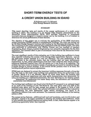 Primary view of object titled 'Short-Term Energy Tests of a Credit Union Building in Idaho (Draft)'.