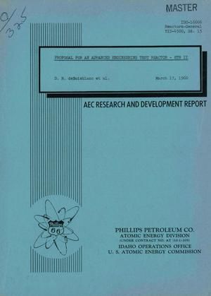 Primary view of object titled 'PROPOSAL FOR AN ADVANCED ENGINEERING TEST REACTOR-ETR II'.