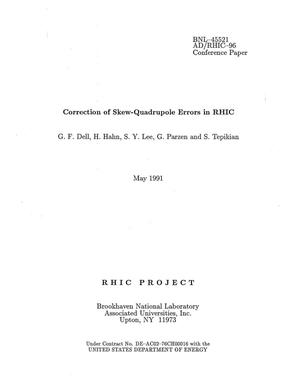 Primary view of object titled 'Correction of Skew-Quadrupole Errors in RHIC'.