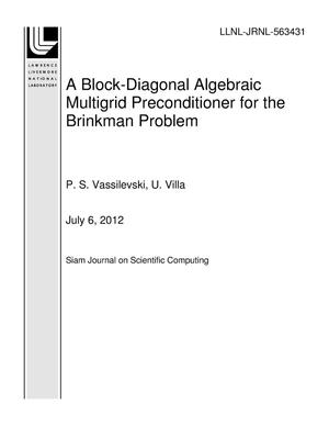 Primary view of object titled 'A Block-Diagonal Algebraic Multigrid Preconditioner for the Brinkman Problem'.