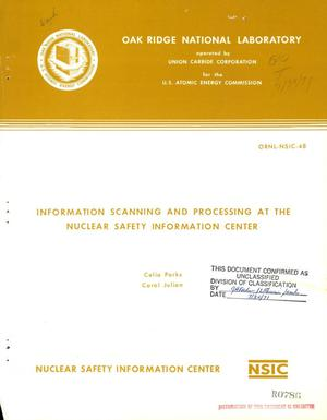 Primary view of object titled 'INFORMATION SCANNING AND PROCESSING AT THE NUCLEAR SAFETY INFORMATION CENTER.'.