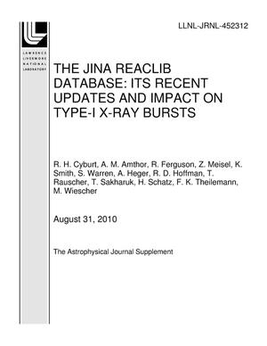 Primary view of object titled 'THE JINA REACLIB DATABASE: ITS RECENT UPDATES AND IMPACT ON TYPE-I X-RAY BURSTS'.
