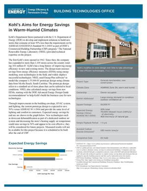 Primary view of object titled 'Kohl's Aims for Energy Savings in Warm-Humid Climates (Fact Sheet)'.