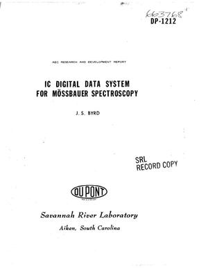 Primary view of object titled 'IC Digital Data System for Moessbauer Spectroscopy.'.