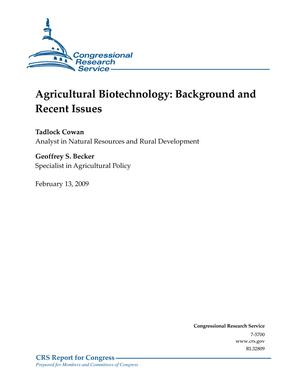 Agriculture Biotechnology: Background and Recent Issues