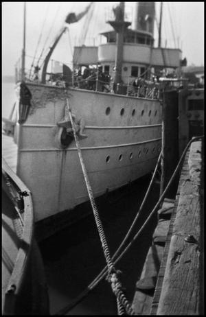Primary view of object titled '[A boat in Los Angeles harbor]'.