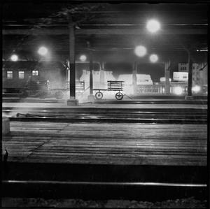 Primary view of object titled '[Cart at T&P rail at night]'.