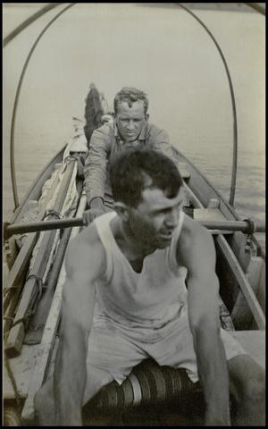 Primary view of object titled '[Two men on a boat]'.