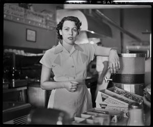 Primary view of object titled '[Waitress at Ernie's Hamburger Stand, Fort Worth, Texas]'.