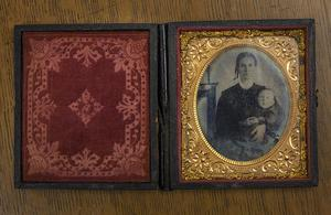 Primary view of object titled '[Ambrotype of an unknown woman and child]'.