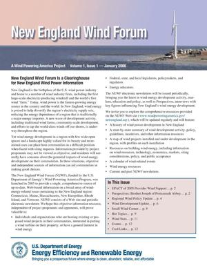 Primary view of object titled 'New England Wind Forum, Volume 1, Issue 1 -- January 2006'.