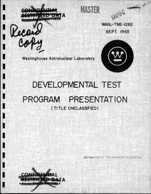 Primary view of object titled 'Developmental test program presentation'.