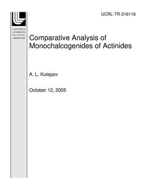 Primary view of object titled 'Comparative Analysis of Monochalcogenides of Actinides'.