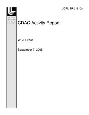 Primary view of object titled 'CDAC Activity Report'.